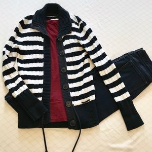 H&M Navy and White Striped Cardigan